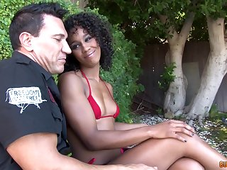 Interracial close up sloppy blowjob at hand ebony Misty Stone getting cum