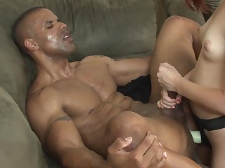 Robust person lets himself dominated by this horny babe
