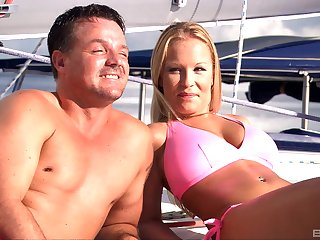 Blonde whore Boroka Bolls cum covered encircling a threesome on a boat
