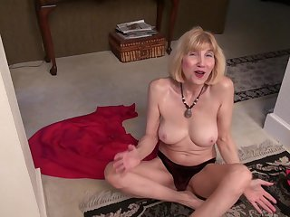 Blonde layman mature granny Ballsy Ryder lifts up her sweeping