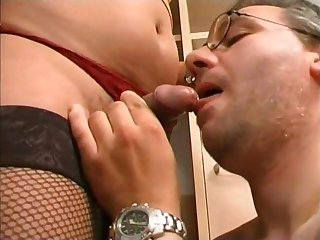 Nasty dominating chocolate tranny