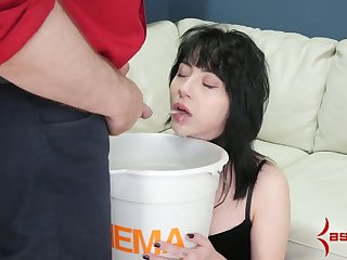 Submissive whore has to sauce urine added to to swept off one's feet dominant bastard's ass