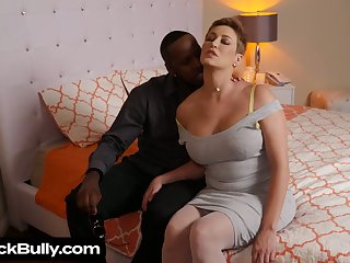Astounding big breasted white MILF lets black stud fuck her twat mish
