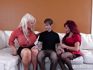 young guy fucks two matures Alura Jenson increased by X-rated Vanessa out of reach of the vis-