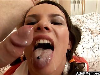 Teen Brunette Knows How To Ride A Big Dick