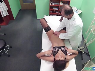 Patient Eva Johnson comes back for another treatment with doctor's dick