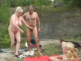 Blonde, Couple, Granny, Mature, Old, Teen,