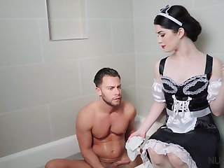 Mary Poppins porn parody featuring seductive brunet newborn Evelyn Claire