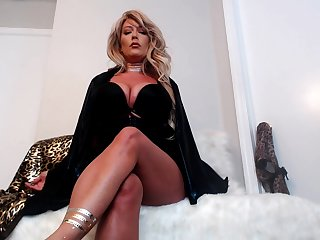 Sexy blonde milf goes solely with a red dildo