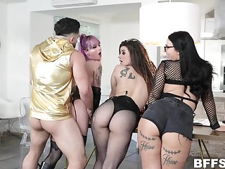 A handful of bitches respecting plump asses fuck yoke hot guy and take cumshot shower