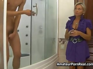 Russian Hot Milf Asks Man In the matter of Shower Be fitting of Sex