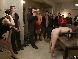 Dark Haired Lady bitch is ass fuck nailed in public