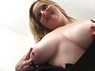 Busty blonde whorish wife poses campo lingerie plus gives nice blowjob
