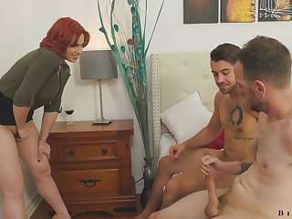 The man redheaded teacher Edyn Blair enjoying some hot bisexual threesome
