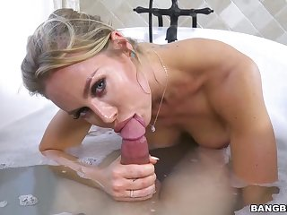 Big titted blonde woman, Nicole with an increment of her new lover are fucking in the bathroom, all day long