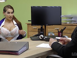 Ample breasted babe Mischel gives a blowjob and gets fucked for loan