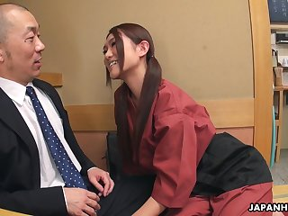 Flirty Japanese waitress Sakura Aoi arranges a foursome at work