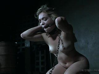 Bare-ass restrained babe at bottom the floor Katie Kush gets punished