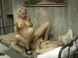 Beauty blonde fucks with dad