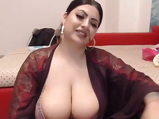 BBW Indian plays with toy on webcam