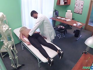 Doctor loads blonde woman's cunt with the juicy sperm