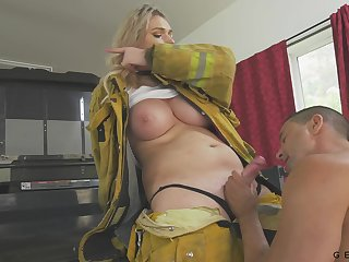 Busty firefighter has a quickie with a exotic coupled with the brush jugs are so juicy