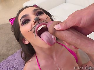 Aroused cutie pie loves role playing when fucking changeless
