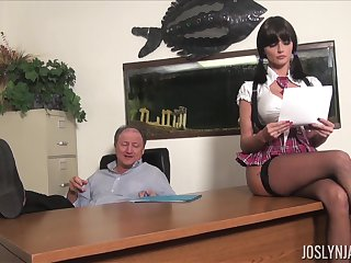 Lustful college chick gets all kinds of dirt overhead her old professor