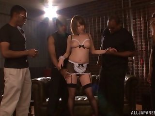 Chubby Japanese Narumiya Harua enjoys having making love apropos black dudes