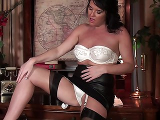 Solo video be worthwhile for underhanded mature Leah masturbating in eradicate affect office. HD
