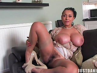 Horny unique wife Danica Collins plays with her giant boobs and cunt