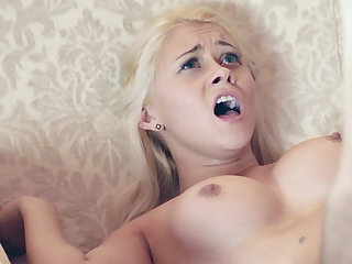 Youthful female compelled to open up her bent filled vag